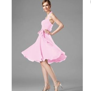 JJ's House Pink Chiffon Swing Halter Special Occasion  Dress NWT